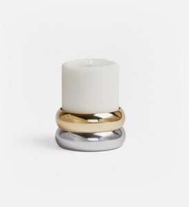 Brass and aluminium candle holder