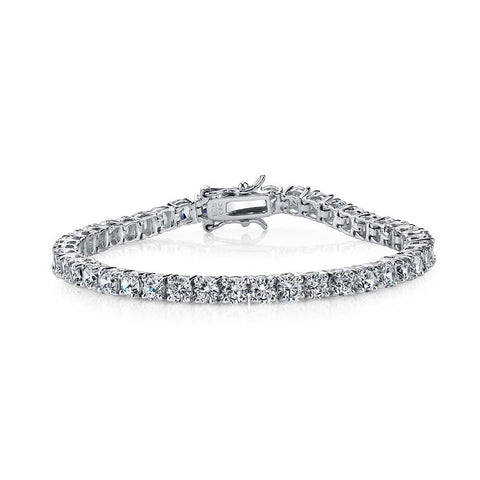 C.Z. Sterling Silver Rhodium Plated Tennis Bracelet