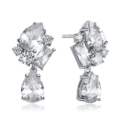 CZ Sterling Silver Rhodium Plated Fancy Dangling Earrings