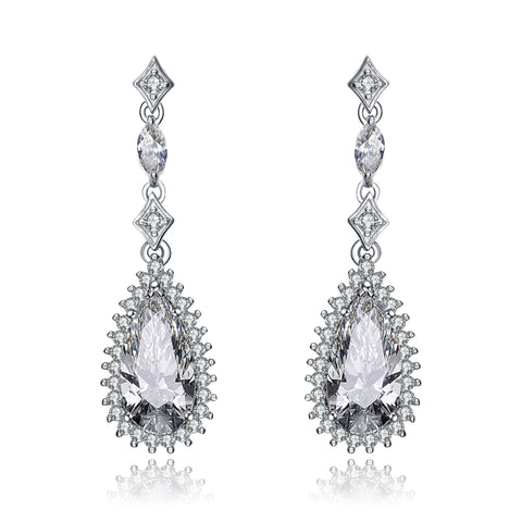 Sterling Silver Pear Drop Cubic Zirconia with Halo Burst Earrings