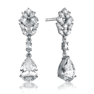 CZ Sterling Silver Rhodium Plated Fancy Earrings