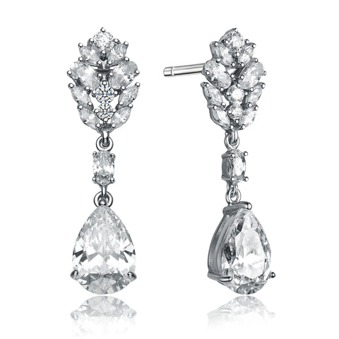 C.Z. Sterling Silver Rhodium Plated Fancy Earrings
