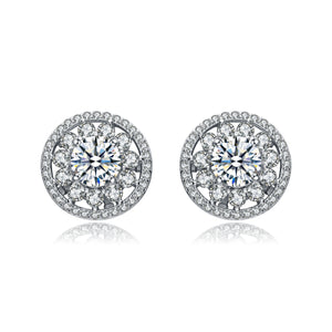 Sterling Silver Pave Round Cubic Zirconia Stud Earrings