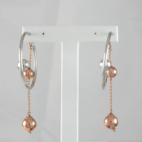 Silver & Rose Gold Plated Spheres Drop Earring