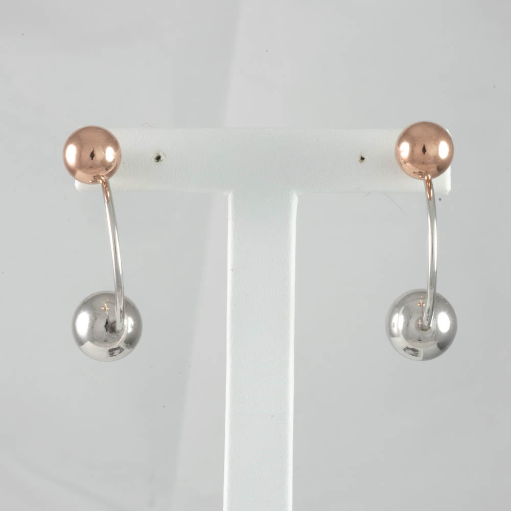 Sterling Silver & Rose Gold Plated 2 Style Bolas Earring
