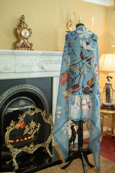 Susan McCann - Ribbon & Beads 100% Silk Scarf - BLUE
