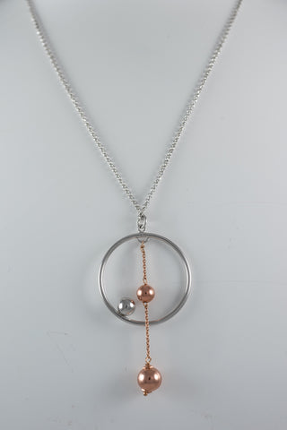 Sterling Silver & Rose Gold Plated Sphears Necklace