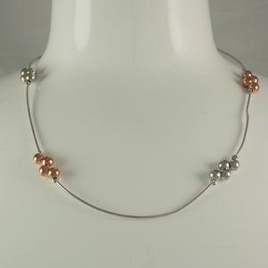 Sterling Silver & Rose Gold Plated Bolas Omega Necklace