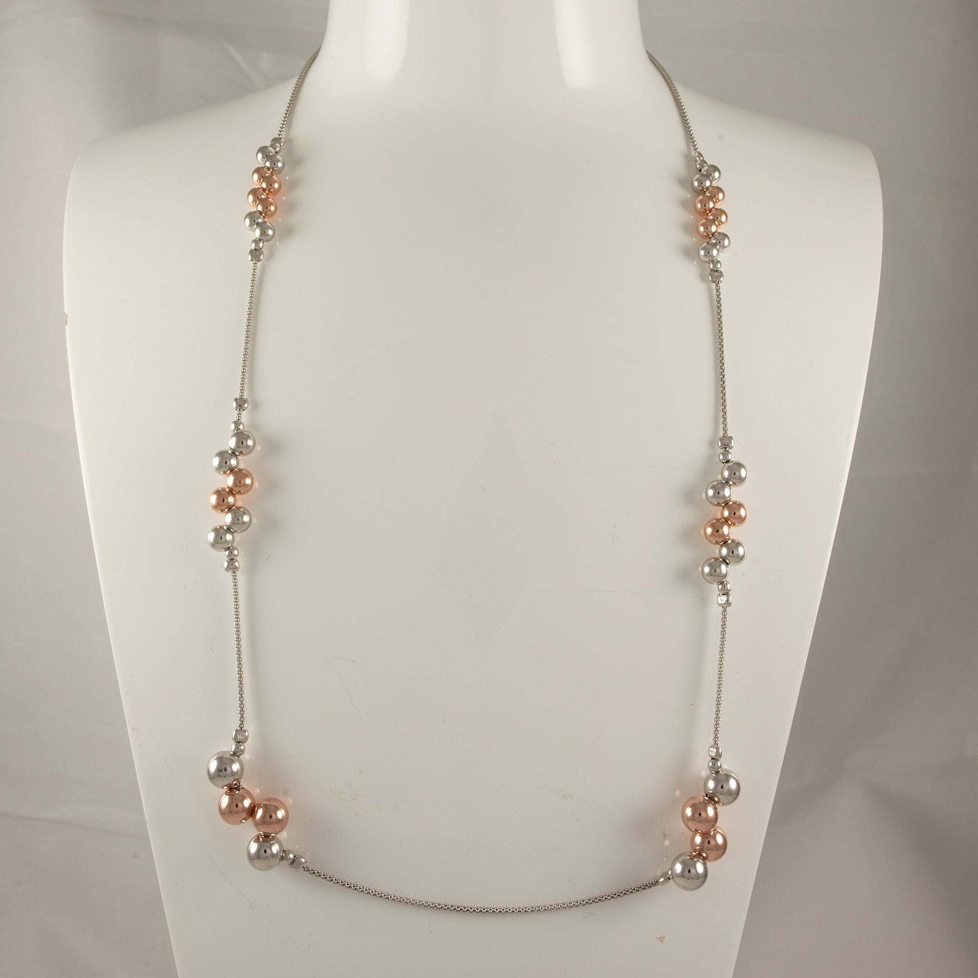 Sterling Silver & Rose Gold Plated Graduated Bolas Popcorn Necklace