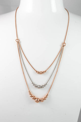 Sterling Silver & Rose Gold Plated 64cm Popcorn Necklace