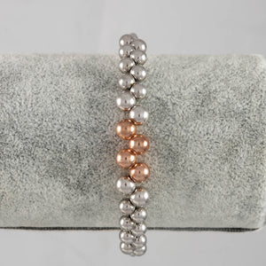 Sterling Silver & Rose Gold Plated Bolas Friends Bangle