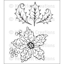 Heartfelt Creations - Cling Rubber Stamp - Large Sparkling Poinsettia