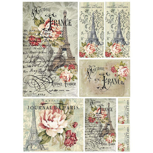 Stamperia Rice Paper Sheet A4 - Voyage en France