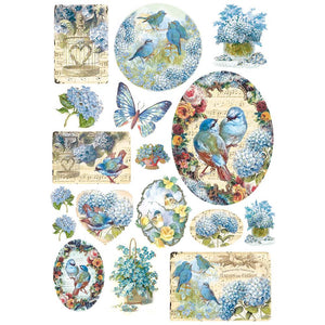Stamperia Rice Paper Sheet A4 - Birds and Light Blue Butterfly