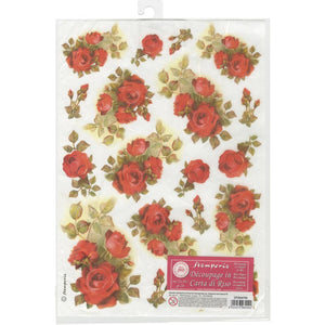 Stamperia Rice Paper Sheet A4 - Red Roses