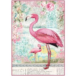 Stamperia Rice Paper Sheet A4 - Pink Flamingo