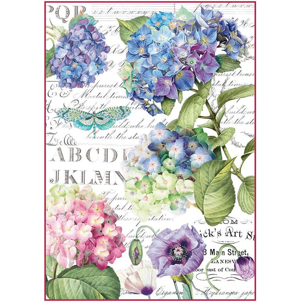 Stamperia Rice Paper Sheet A4 - Hortensia & Dragonfly
