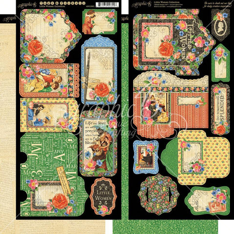 "Graphic 45 - Little Women Cardstock Die-Cuts 6""X12"" Sheets 2/Pkg"