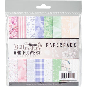 "Find It Trading Jeanine's Art Paper Pack 6""X6"" 24/Pkg - Classic Butterflies & Flowers"