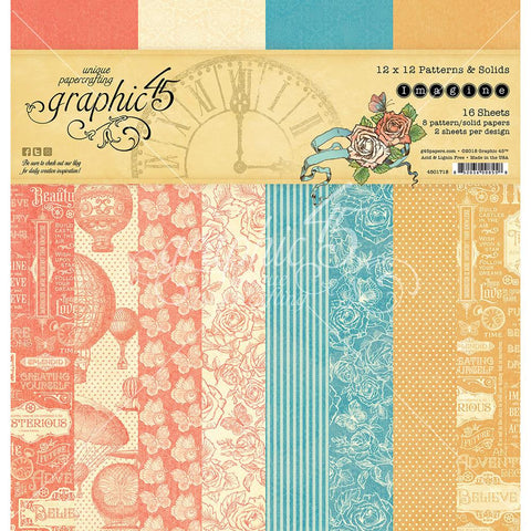 Graphic 45 Imagine - Patterns and Solids paper pad
