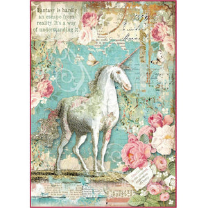 Stamperia Rice Paper Sheet A4 - Wonderland Unicorn | STAMPERIA INTERNATIONAL, KFT