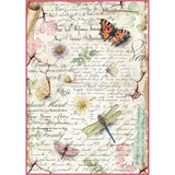 Stamperia Rice Paper Sheet A4 - Dragonflies and Butterflies