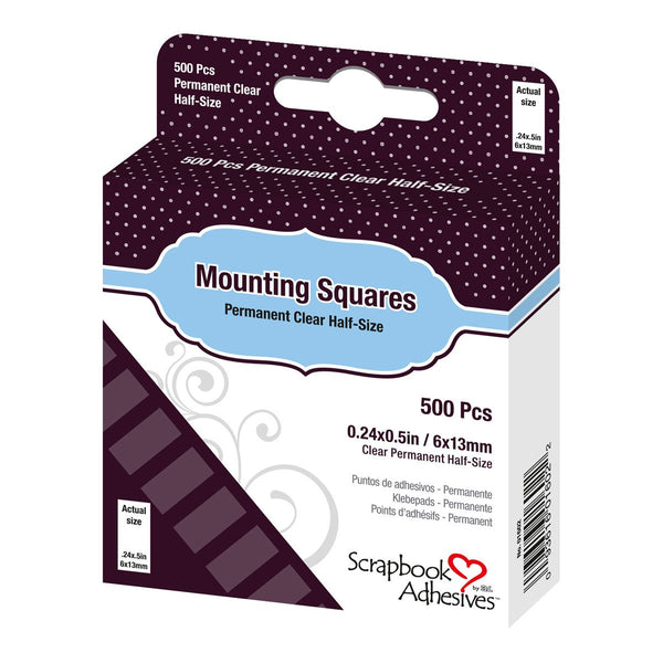Adhesive - Mounting Squares - Clear Half Size Permanent (500pc)
