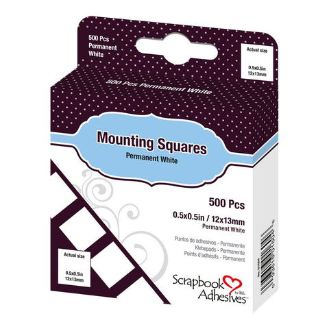 Adhesive - Mounting Squares - White Permanent (500pc)