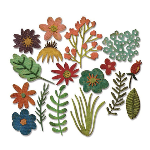 Sizzix Thinlits Die Set 15pk - Funky Floral by Tim Holtz
