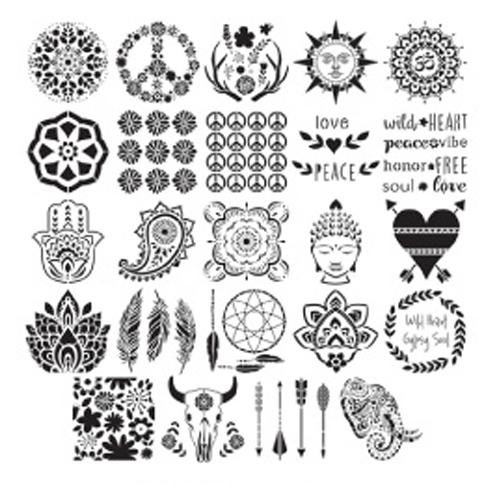 Plaid Folkart Value Pack 12x12 Stencils - Bohemian