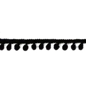 Pom Pom Ribbon - Black 1/2 Inch - Length 3yds