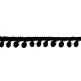 Pom Pom Ribbon - Black 1 - 2 Inch - Length 3yds