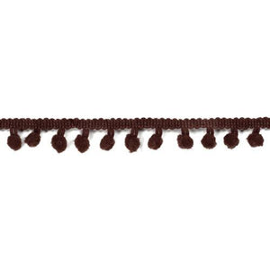 Pom Pom Ribbon - Chestnut 1/2 Inch - Length 3yds