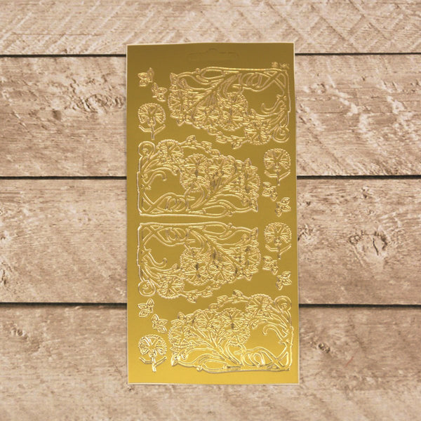 Sticker - AD - Flower corners small gold/gold