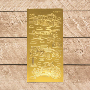 Sticker - AD - Old driving machines gold/gold