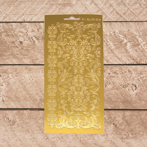 Sticker - AD - Swirls & Flourishes gold/gold