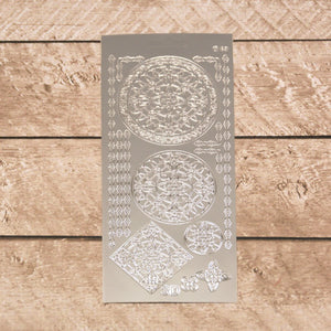 Sticker - AD - 3D Ornament Round Lace silver/silver