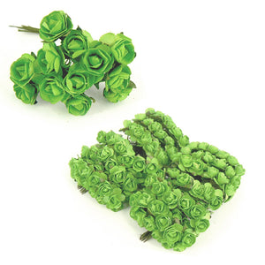 Paper Roses - 12pcs - approx 1cm heads - Irish Green
