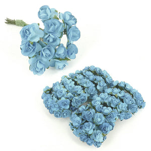 Paper Roses - 12pcs - approx 1cm heads - Bright Blue