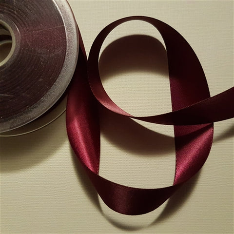 Birch - Craft Satin Ribbon 25mm Wine (Per meter)