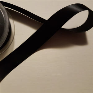 Birch - Craft Satin Ribbon 25mm Black (Per meter)