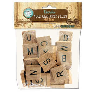 Bottle Cap - Salvaged Wood Alphabet Tiles Uppercase (40/Pkg)