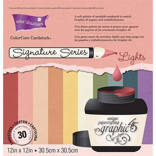 Core'dinations - Graphic 45 Signature Series - Assorted 30PK Light Colours (12 x 12 Inch)