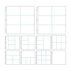 Couture Creations - 3 Ring Binder Sleeves (Album Refills) - 12 x 12 Assorted Partitions (10 Pack)