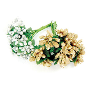 Bouquets - BM - Gold & Silver (2 bunches x 12 stems, 3 asst stamens)