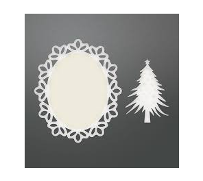 Couture Creations Be Merry Collection - Framed Christmas Tree Doily Set