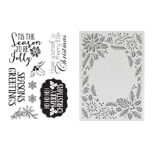 Couture Creations - To Be Jolly 5x7 Embossing Folder and Stamp Set (169 x 119mm 112.5 x 161.8mm | 6.6 x 4.6in 4.4 x 6.3in) WH