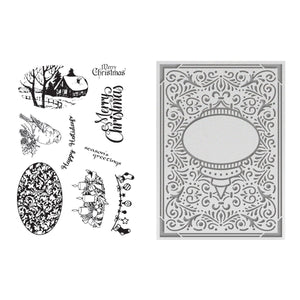 Emboss + Stamp Set - LE - Ornate Christmas 5x7