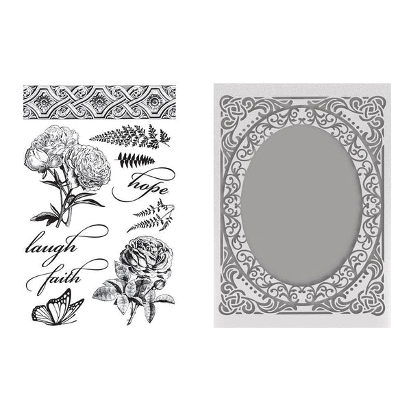 Stamp & Emboss Set - CLV - Butterflies and Roses - for A2 cards
