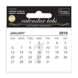 Couture Creations Calendar Tabs 2019 (10 sets of 12 months)